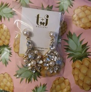 💎💎18k gold Luxe Pearl and Crystal Drop earrings